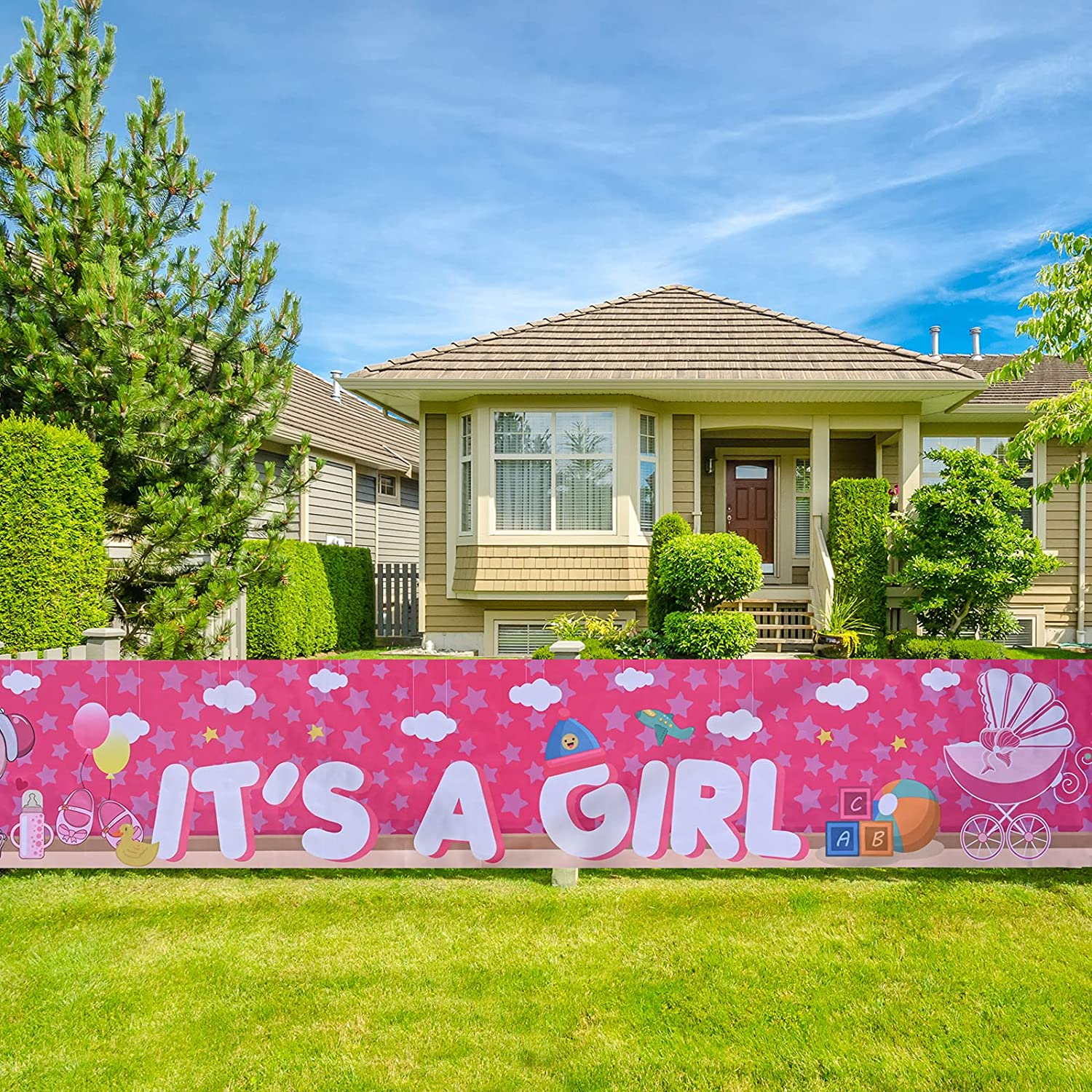 Baby Shower Banner Backdrop Background 9.8ft x 1.6ft Its A Girl Yard Sign Outdoor Decorations Large Baby Shower Banner with Cool Baby Baby Shower Decoration for Baby Girl