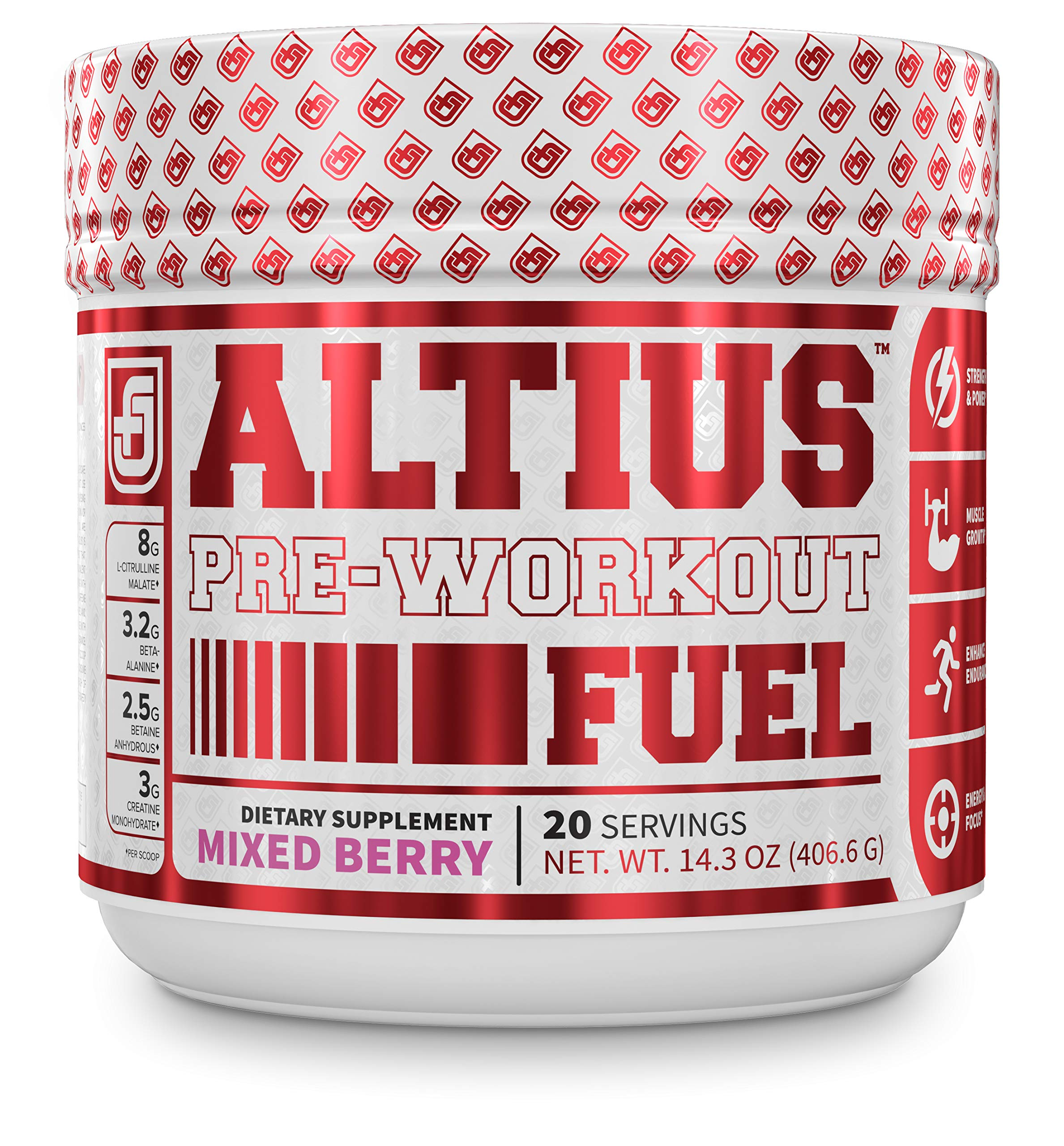 ALTIUS Pre-Workout Supplement - Naturally Sweetened - Clinically Dosed Powerhouse Formulation - Increase Energy & Focus, Enhance Endurance - Boost Strength, Pumps, & Performance - Mixed Berry Blast (14.3 OZ) by Jacked Factory
