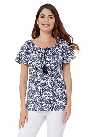 452d3f696fc44 Roman Originals Women Butterfly Print Top - Ladies Short Sleeve Bardot  Gypsy Neckline Casual Summer Daytime Holiday Nice Smart Tops  Amazon.co.uk   Clothing