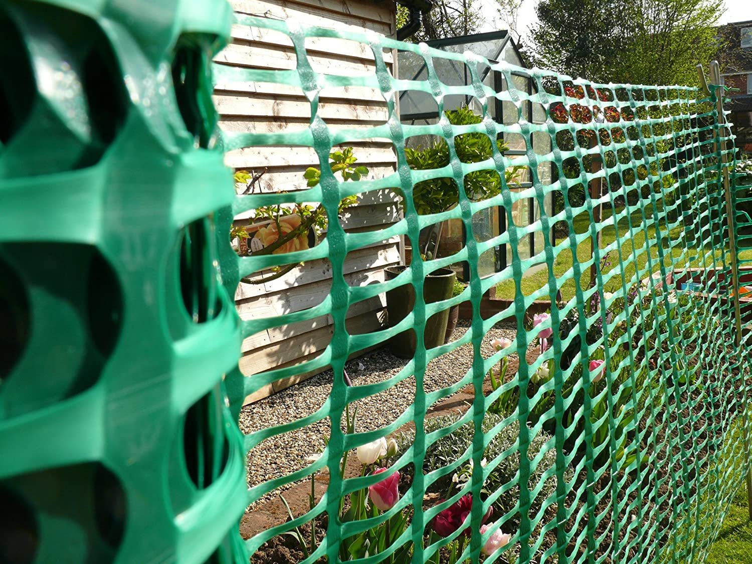 Plastic Mesh Fencing 1m X 50m Green Barrier Netting Heavy Duty Weather  Resistant   Ideal As Barrier For Crowd Control, Dog/ Animal Fence:  Amazon.co.uk: ...