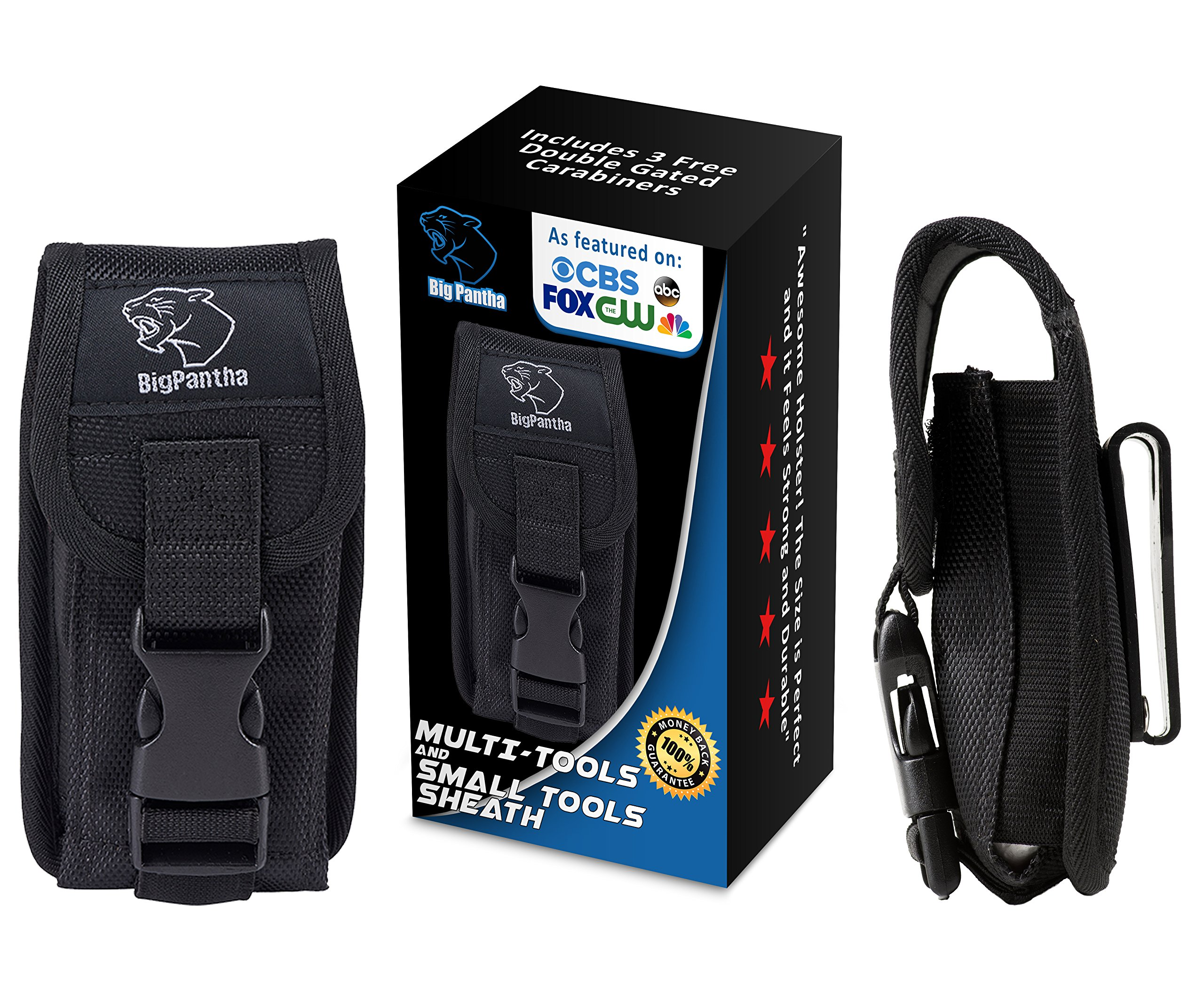 Ultra Multi-Purpose 5.5'' Multi Tool Sheath/Pouch to Keep Essential Small Tools Close To Hand. For MultiTool Folding Knife Flashlight or Cellphone etc. Includes BONUS 3 x Handy Carabiner Hooks!