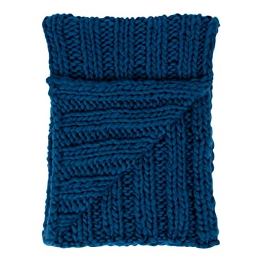 Kate and Laurel Chunky Knit Throw Blanket, 60 x 50-inches, Dark Teal