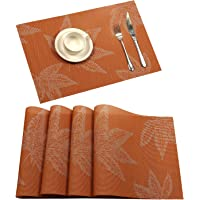 Placemat, U'Artlines Fall Harvest Season Vinyl Non-slip Insulation Placemat Washable Table Mats Set (4pcs placemats…