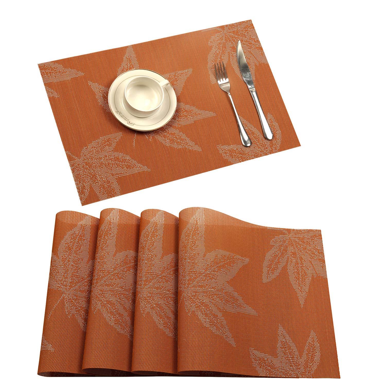 U'Artlines Placemat, Fall Harvest Season Vinyl Non-Slip Insulation Placemat Washable Table Mats Set (4pcs placemats, Maple Leaf Orange)
