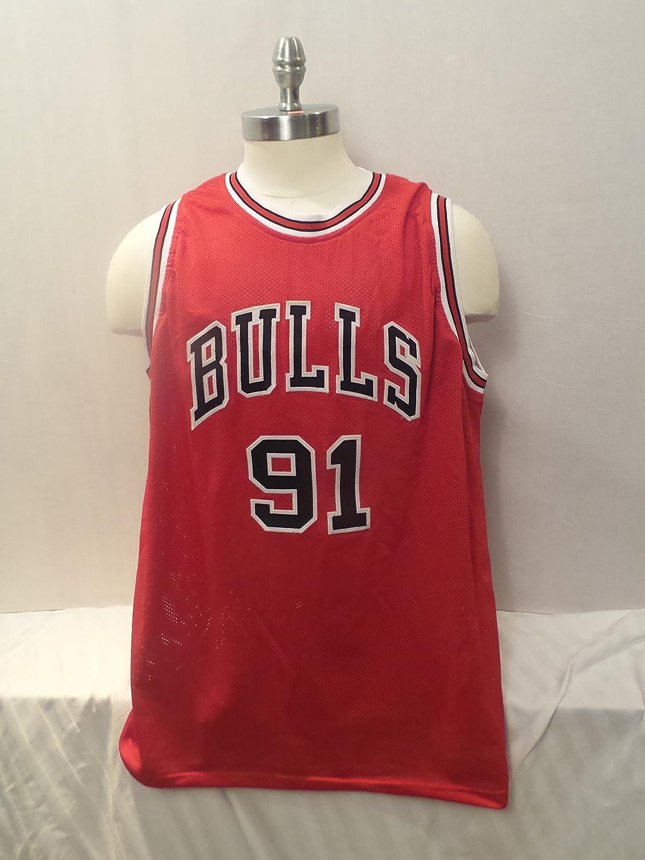 new arrival 407c8 4bd87 Dennis Rodman Signed Chicago Bulls Red Autographed Custom ...