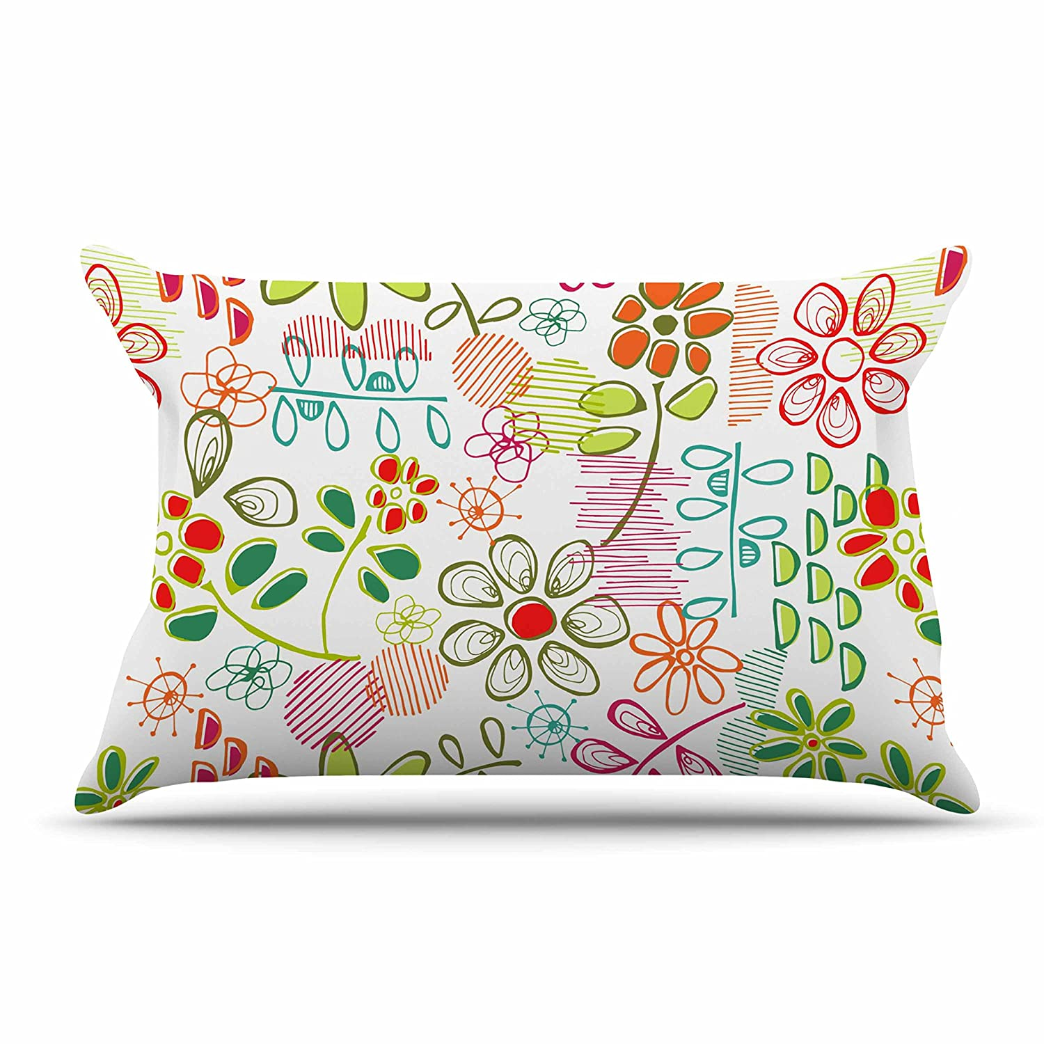 Kess InHouse Holly Helgeson Wildflower White Multicolor Pillow Sham 40 x 20