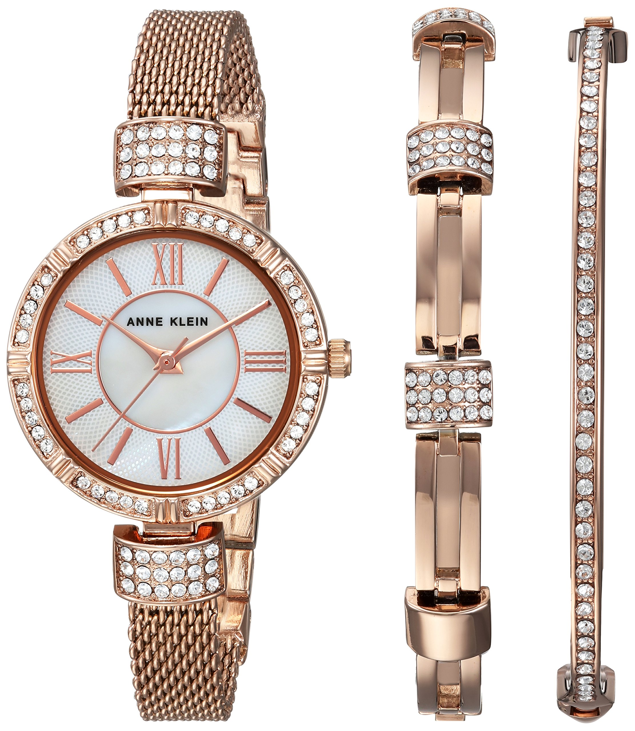 Anne Klein Women's AK/2844RGST Swarovski Crystal Accented Rose Gold-Tone Mesh Watch and Bracelet Set