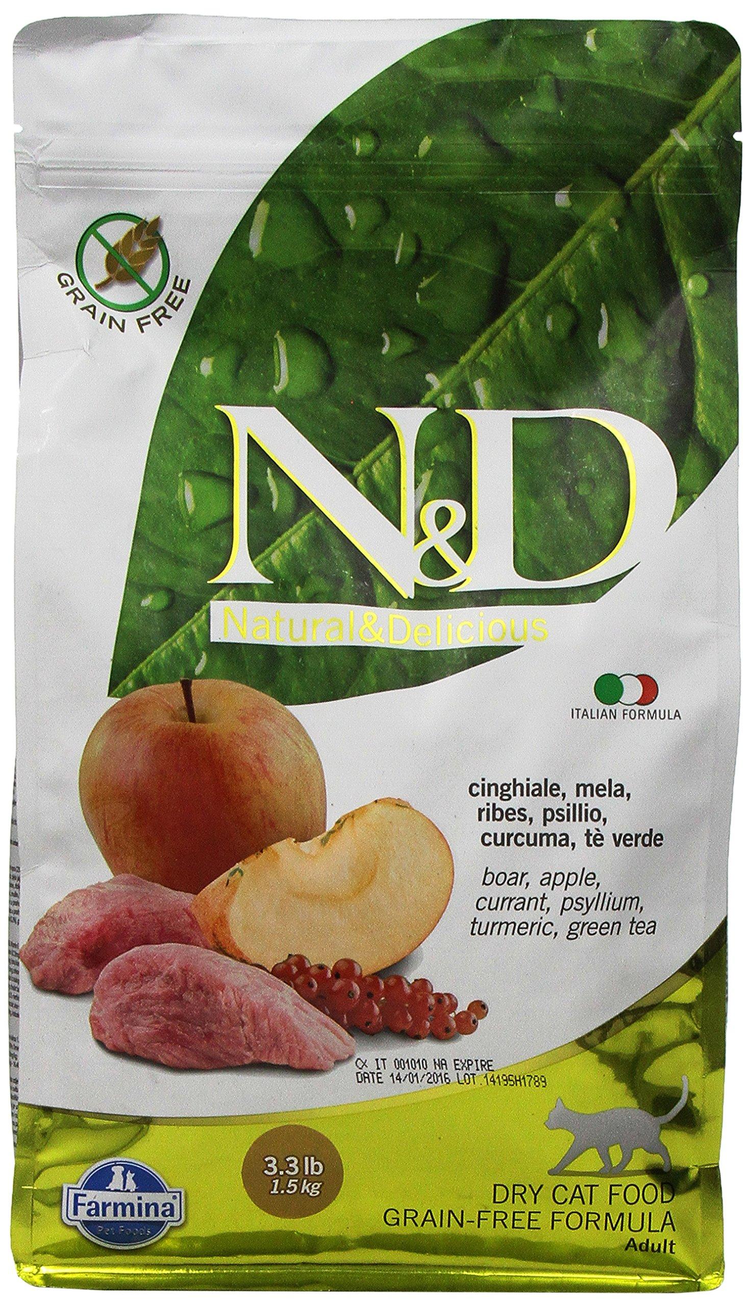 Farmina Natural and Delicious Boar and Apple Grain-Free Formula Dry Cat Food, 3.3 Pound Bag by Farmina (Image #1)