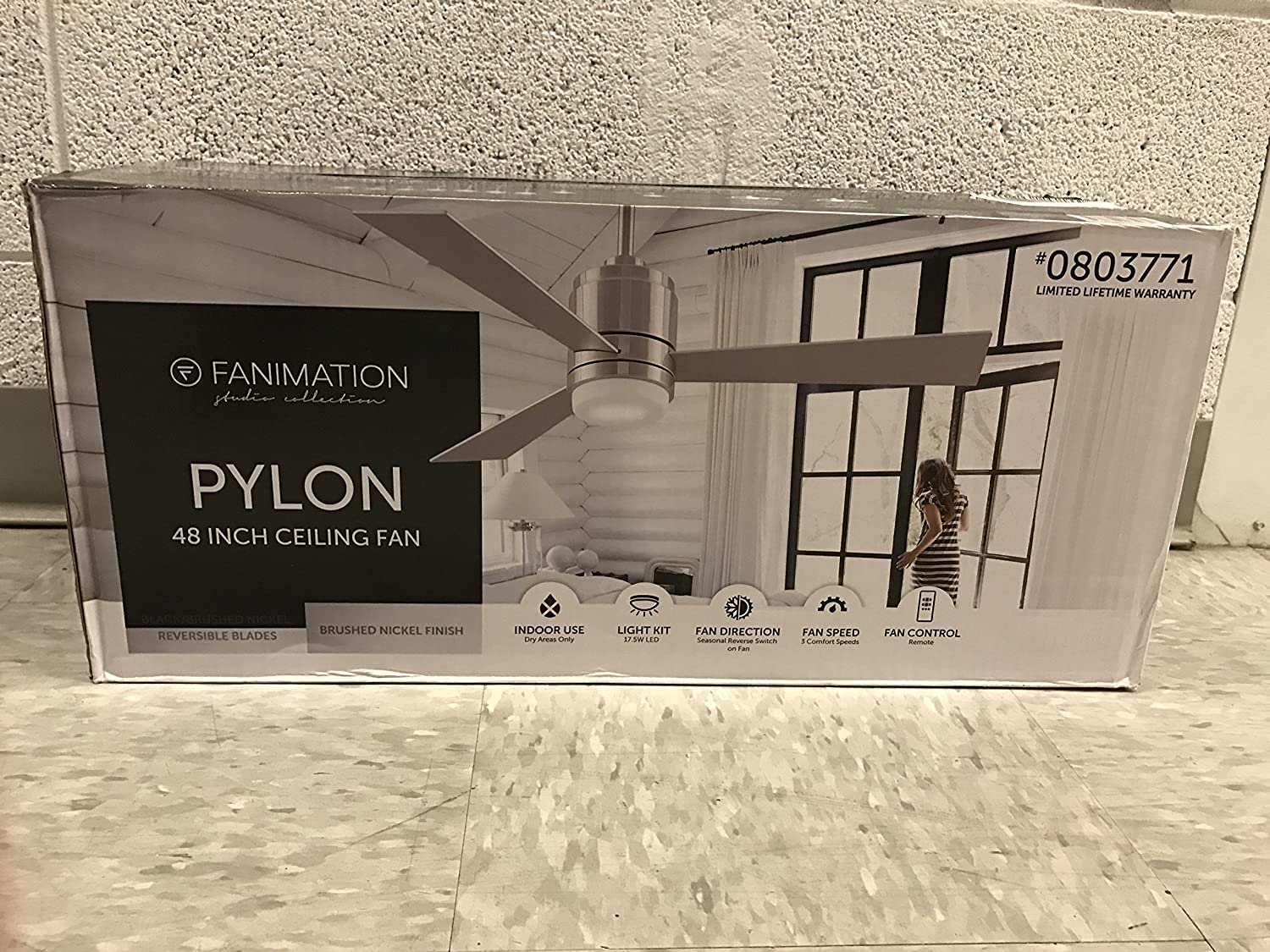 Pylon 48 in brushed nickel downrod mount indoor ceiling fan with led pylon 48 in brushed nickel downrod mount indoor ceiling fan with led light kit and remote 3 blade amazon mozeypictures Gallery