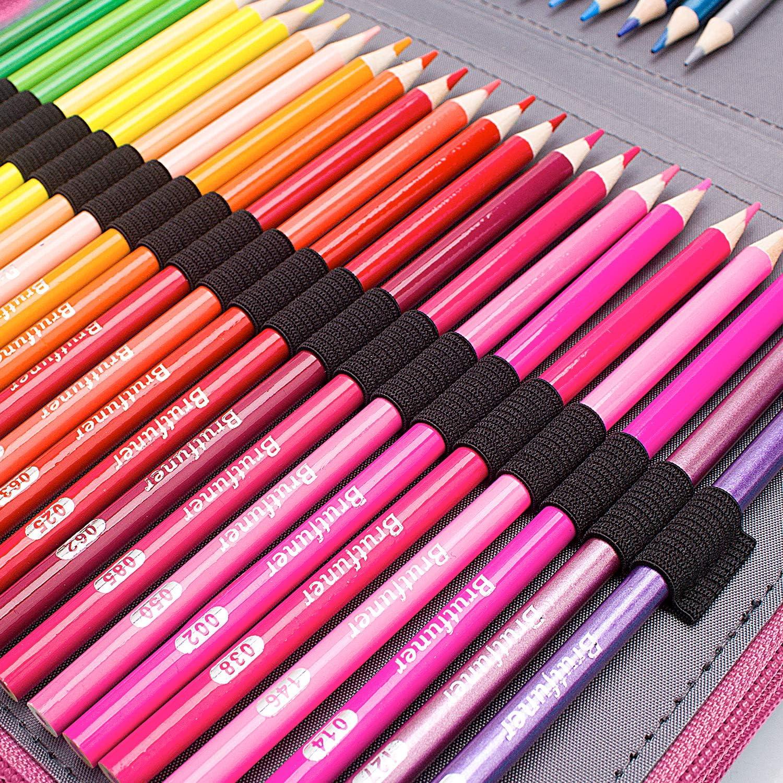 Noir organiseur de crayons /étanche 4 couches Grande trousse /à crayons en similicuir avec 184 emplacements pour crayons de couleur portable