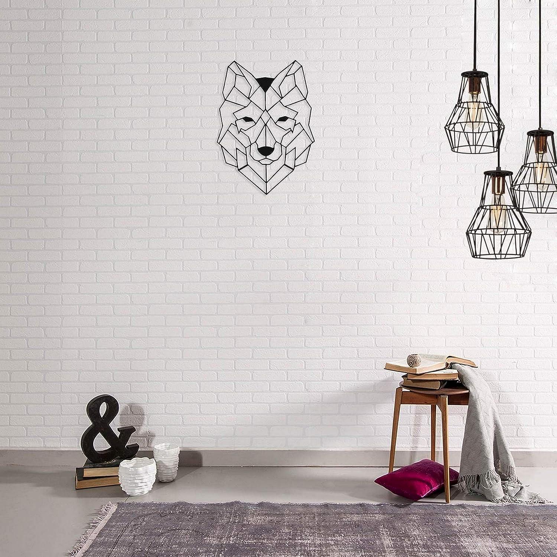 Taille Unique Homemania D/écoration Murale en Metal Loup Noir-Art Mur Bureau D/éco-pour S/éjour Maison