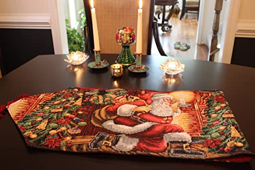 Amazon.com: Tache 13 X 54 Festive Christmas Tapestry Down The Chimney Table  Runners: Home U0026 Kitchen