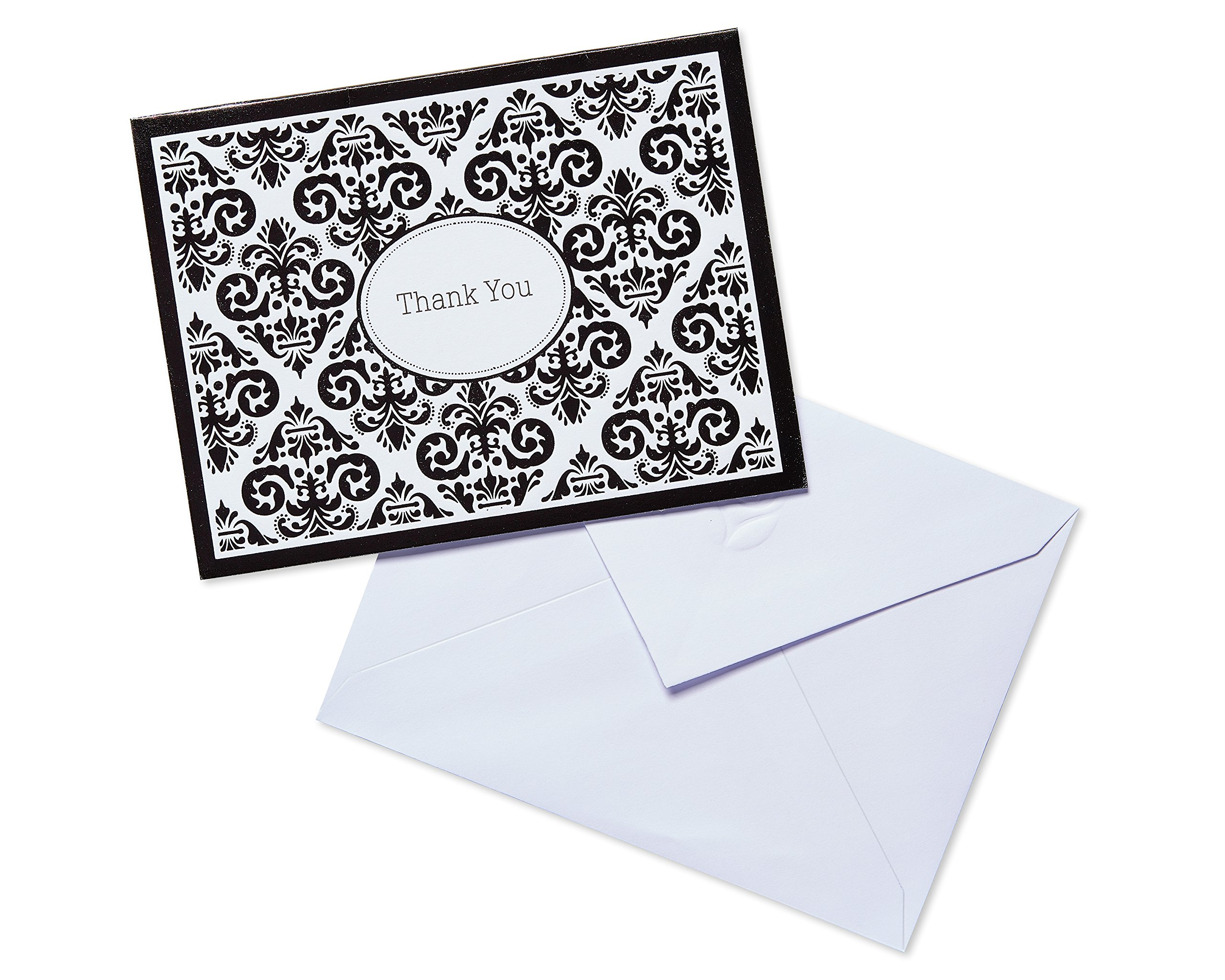 American Greetings 12 Count Damask Thank-You Cards, Black/White
