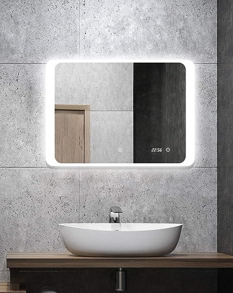 ALLDREI Badspiegel mit Beleuchtung AD25 Badezimmerspiegel mit Digitale Uhr,  LED Licht, Touch Schalter – Waagerecht Montage 70 x 50 cm, Wasserdicth ...