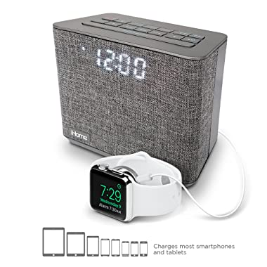 iHome iBT232 Bluetooth Dual Alarm FM Clock Radio with Speakerphone and USB Charging -Gray (Newest Model)