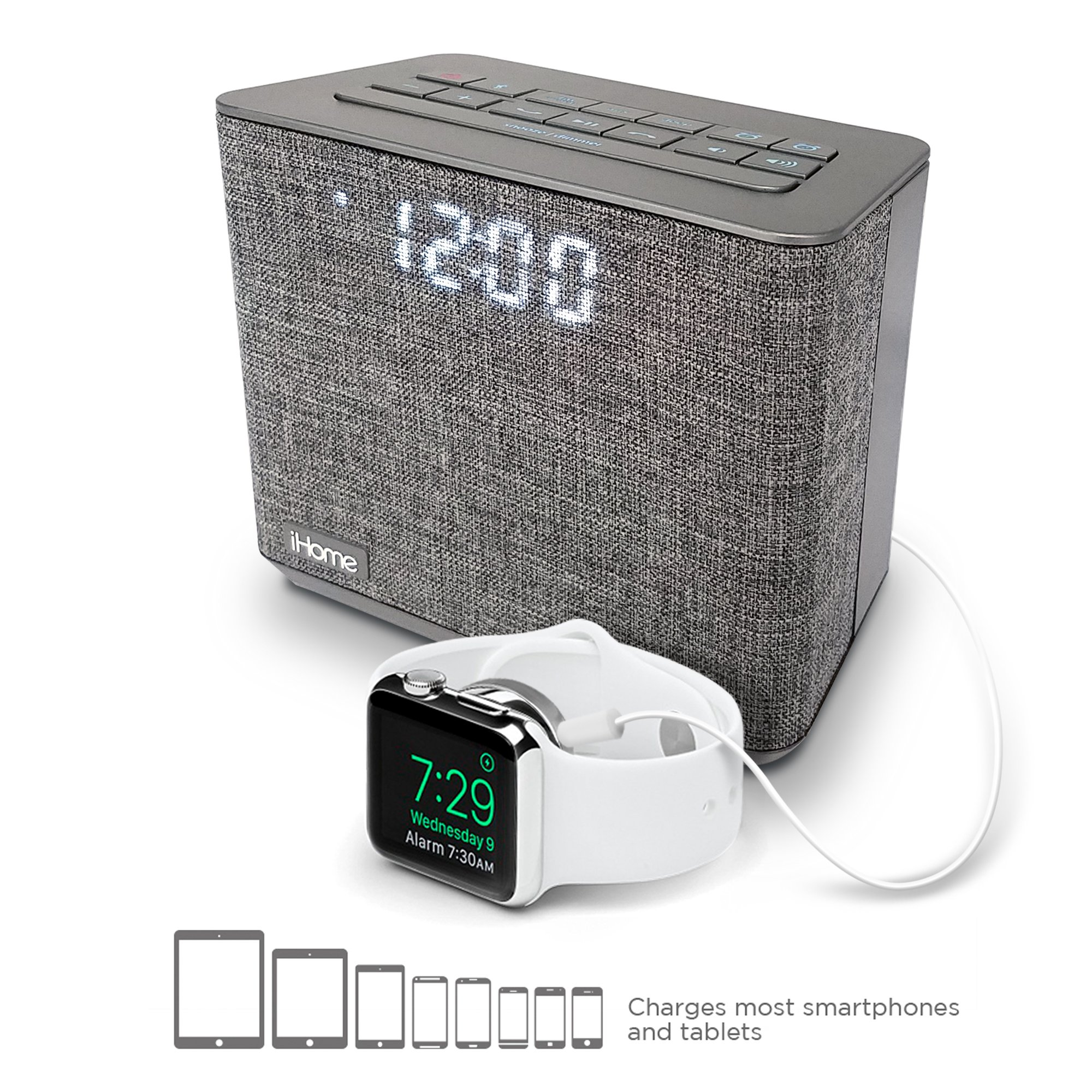 iHome Bluetooth Dual Alarm FM Clock Radio with Speakerphone and USB Charging Grey (iBT232)