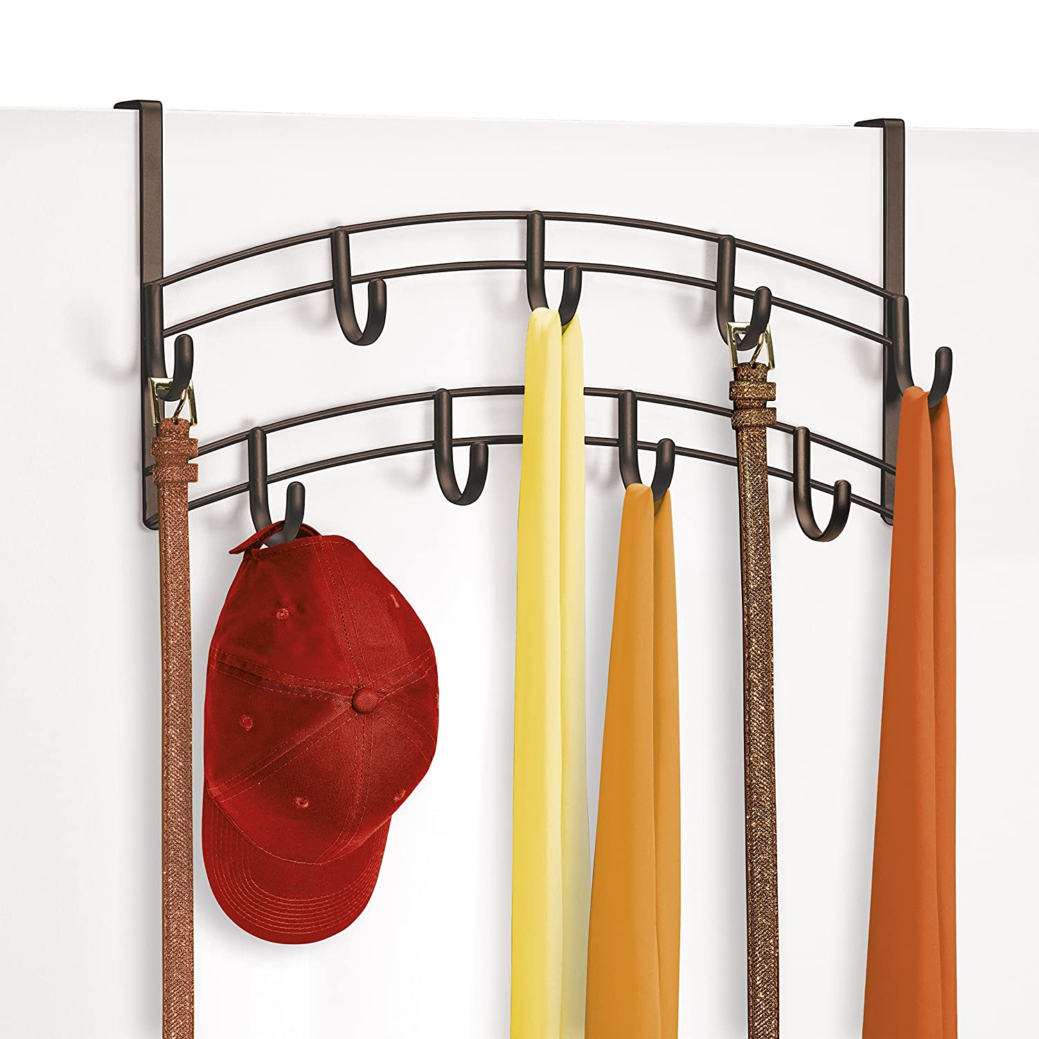 Amazon.com: Lynk Over Door Accessory Holder   Scarf, Belt, Hat, Jewelry  Hanger   9 Hook Organizer Rack   Bronze: Home U0026 Kitchen