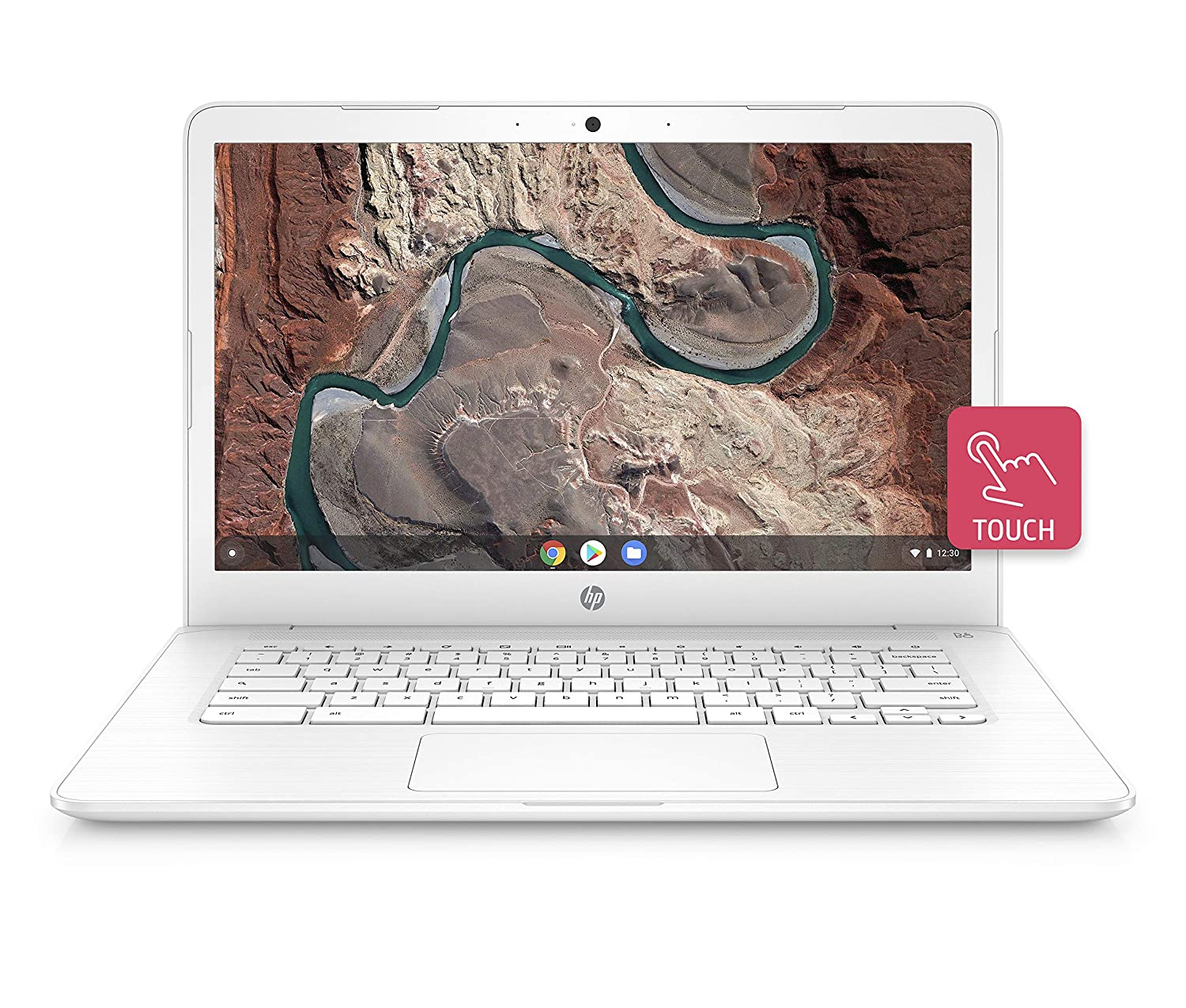 HP Chromebook 14-inch Laptop with 180-degree Hinge, Touchscreen Display, AMD Dual-Core A4-9120 Processor, 4 GB SDRAM, 32 GB eMMC Storage, Chrome OS (14-db0070nr, Snow White)