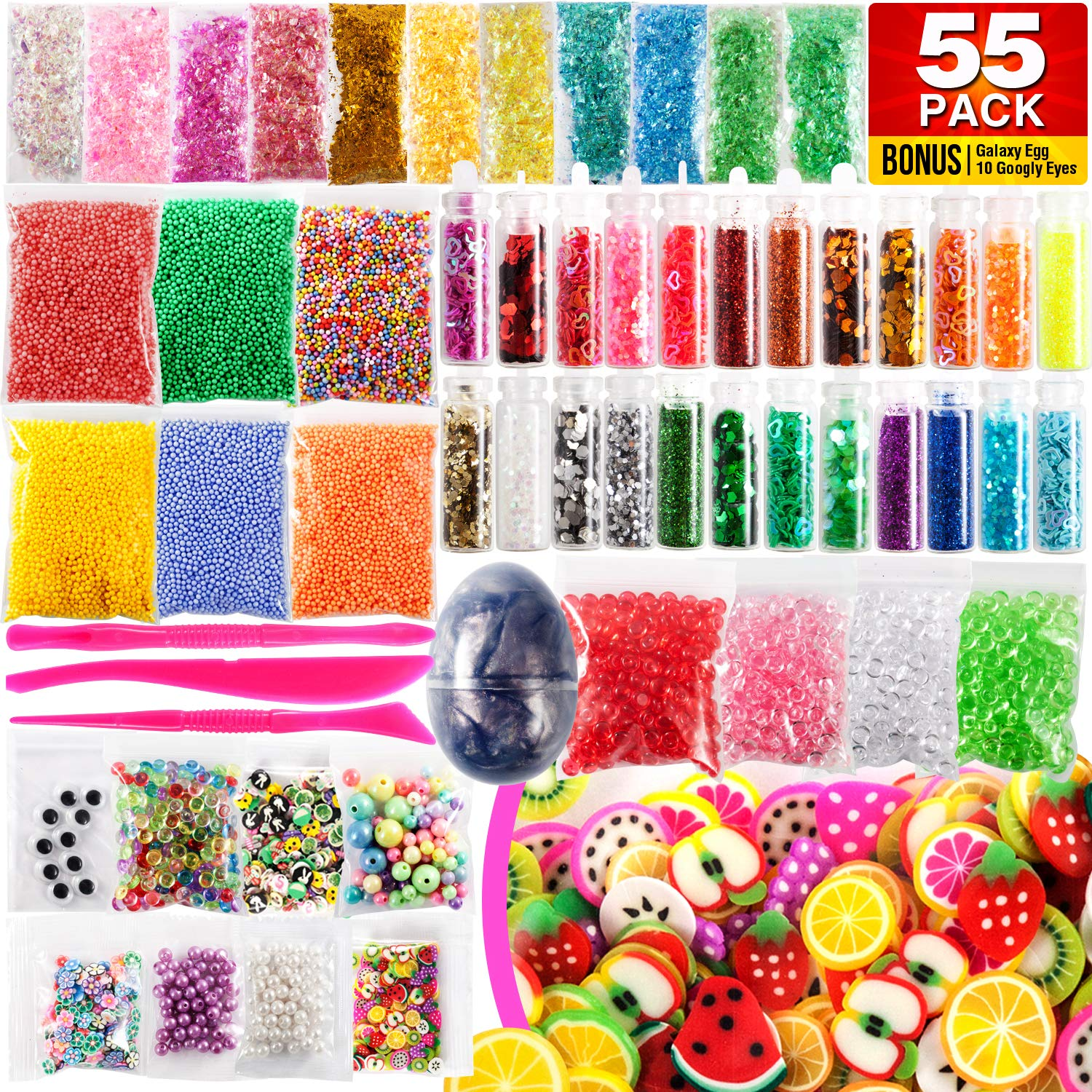 Slime Supplies Kit 55 Pack – Galaxy Egg, Googly Eyes, Glitter Shake Jars, Pearls, Wonderful Fruit Slices, Great Sugar Papers, Fantastic Fishbowl Beads, Foam Balls, Amazing Fun Tools YI 12514125