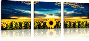 Natural art Sunflowers Under The Blue Sky Landscape Artwork Posters and Prints Framed for Kitchen Office Bar Wall Decor 12x12Inchx3Panels