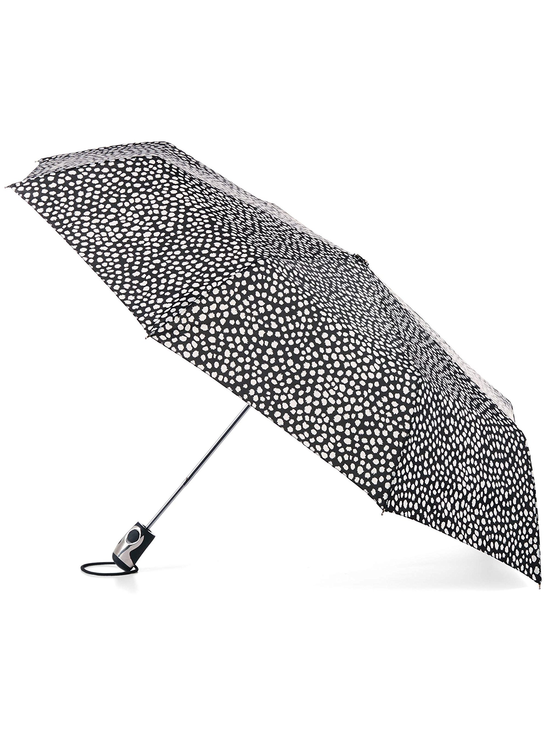 Totes Titan Auto Open Umbrella with NeverWet Technology, Black With Splattered White Dots.