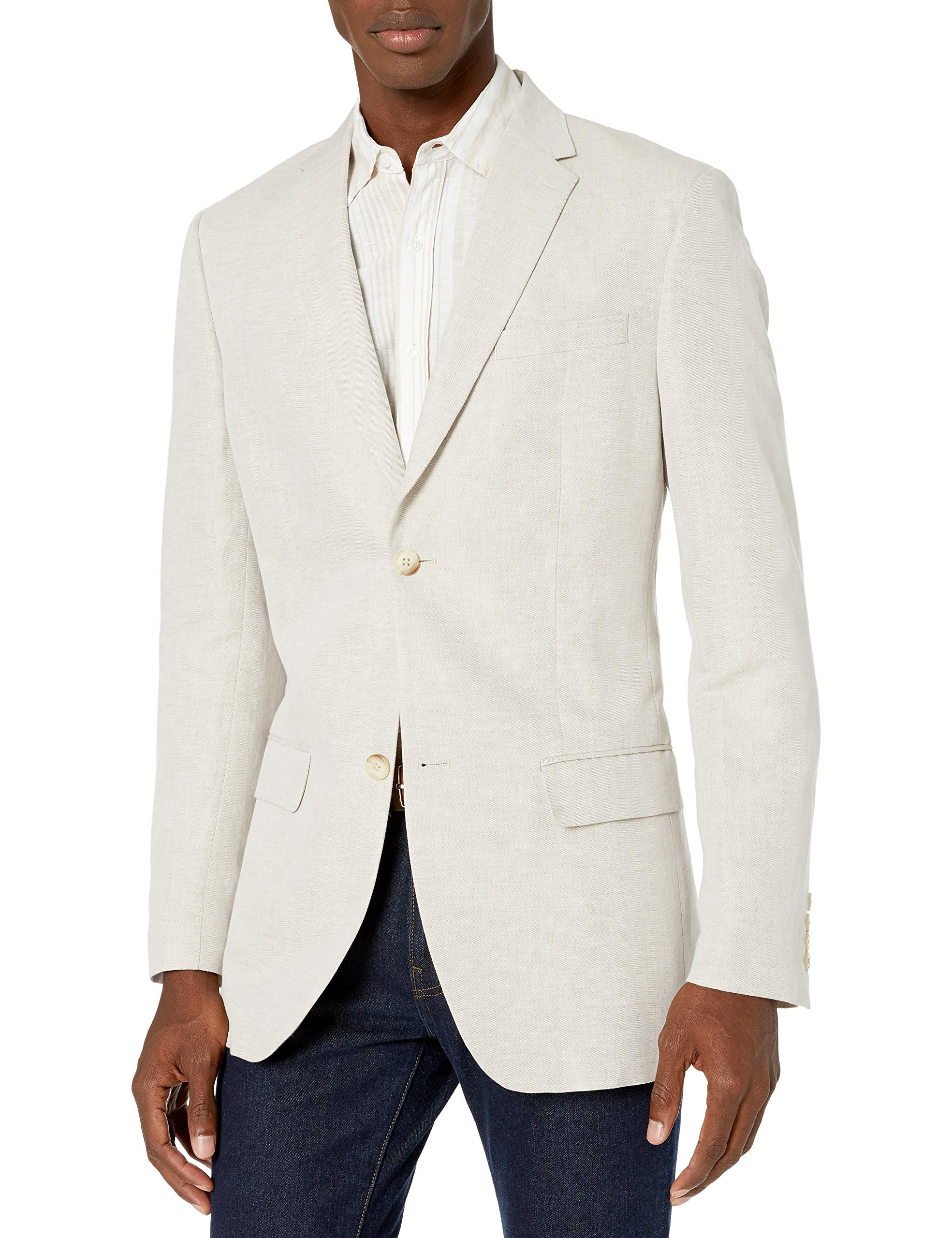 Perry Ellis Men's Suit Jacket, Natural Linen, 42/Large by Perry Ellis