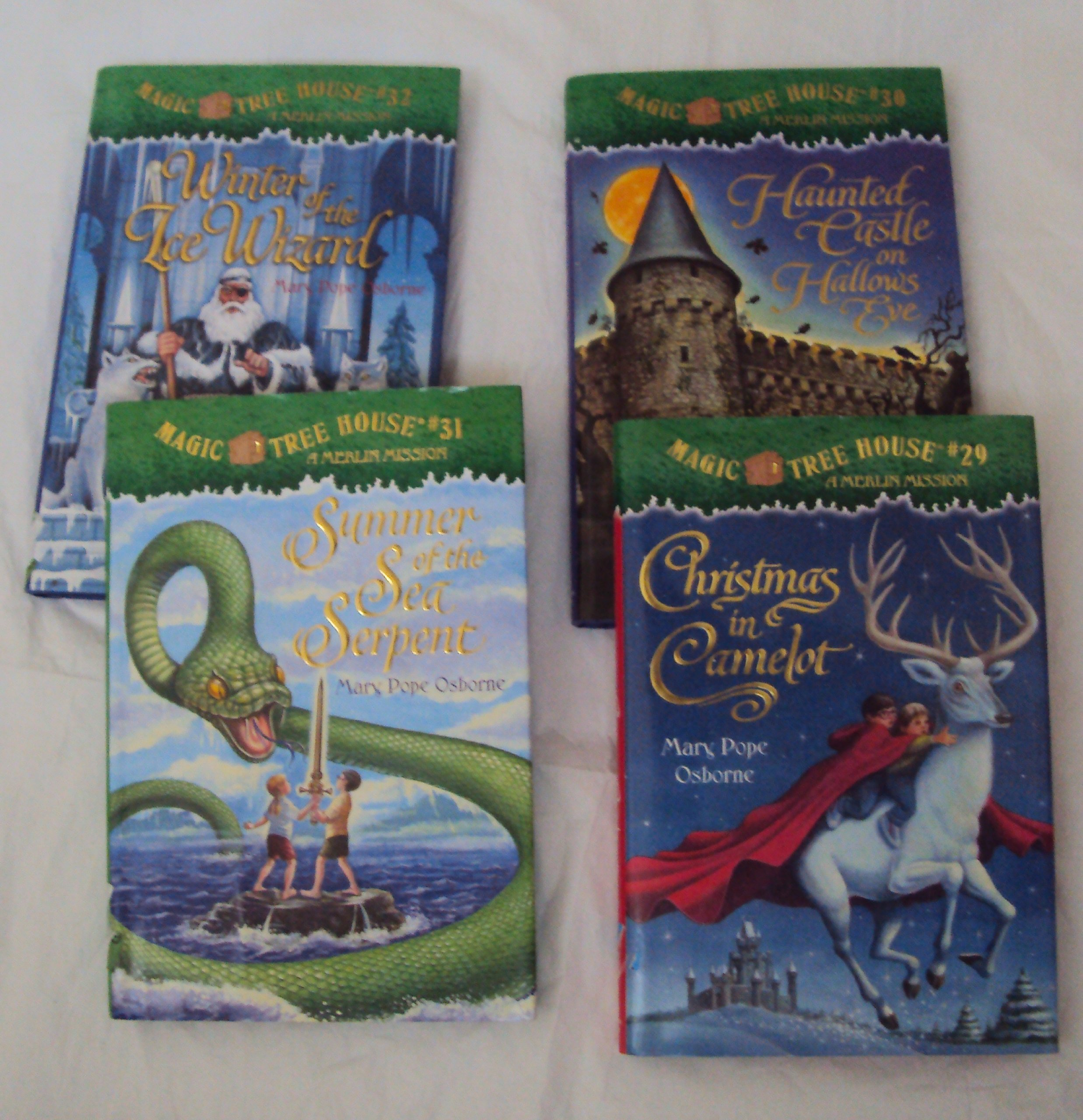 Magic Tree House #29  #32 : Summer Of The Sea Serpent, Christmas In  Camelot, Haunted Castle On Hallows Eve, Winter Of The Ice Wizard (book Sets  For Kids):