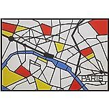 "Amazon Brand – Rivet Pop Art Print of Paris Map in Primary Colors Modern Wall Art, 38"" x 26"""