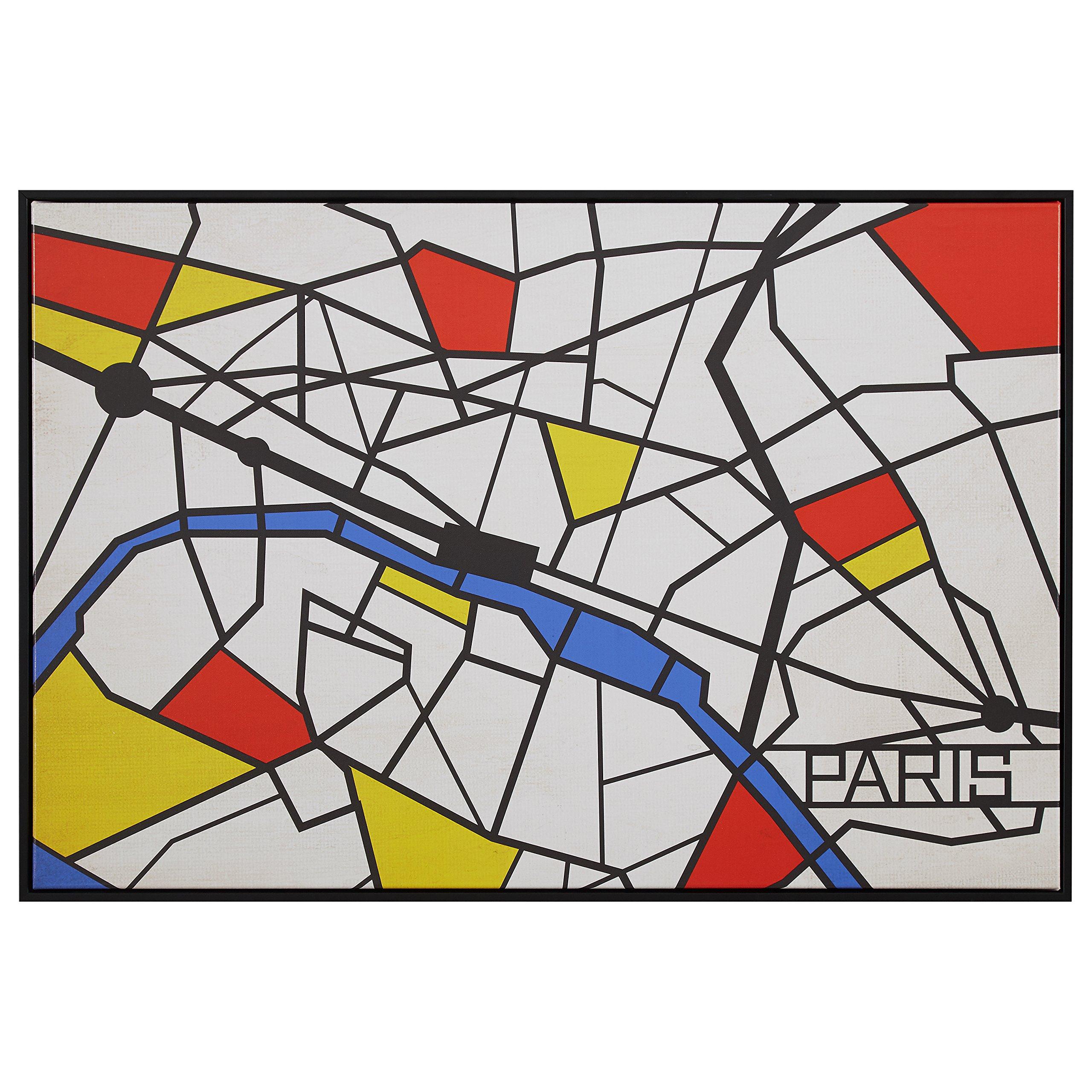 Pop Art Print of Paris Map in Primary Colors, 38'' x 26''