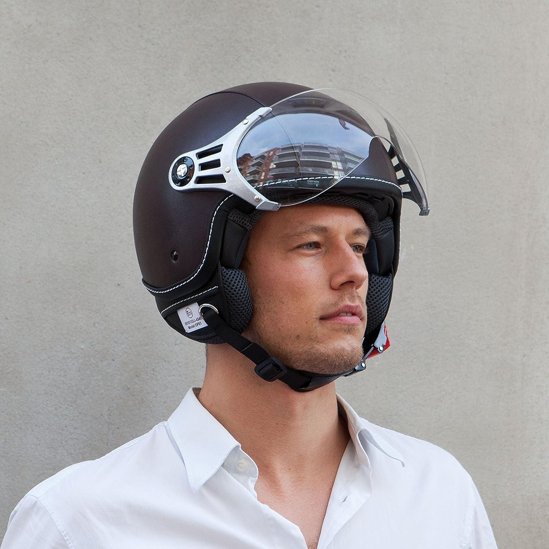 Vinz Motorradhelm Rollerhelm Jethelm Jet Helm Fashionhelm braun Lederhelm in Gr XS-XL Helm mit Visier ECE zertifiziert M