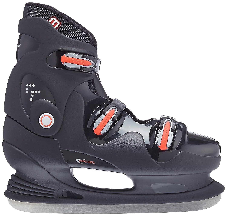 Nijdam Mens Ice Hockey Skates Hardboot Black Silver Blue