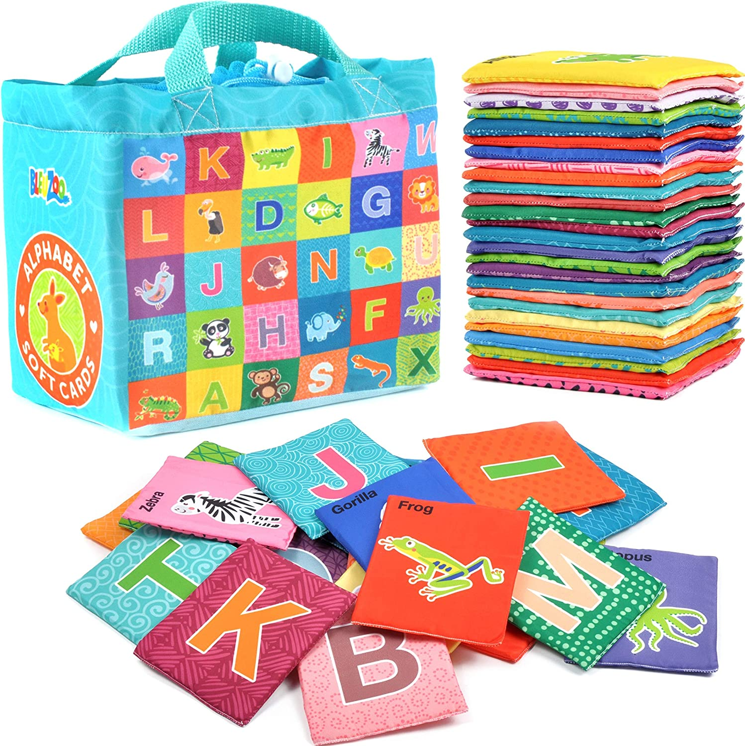BleuZoo Soft Alphabet Cards - Educational Preschool Early Learning ABC Letters Baby Flash Cards Classroom Montessori Teaching Toy for Kids Toddlers - 26 Letters & Cloth Storage Bag