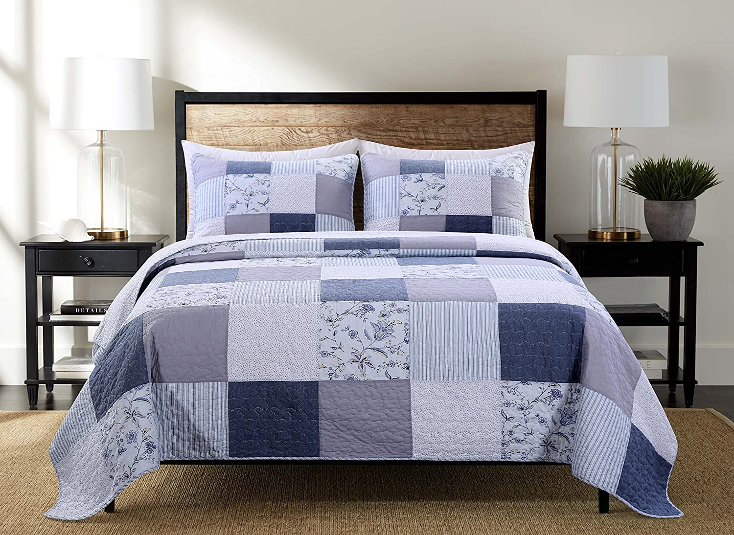 SLPR Coastal Dream 3-Piece Real Patchwork Cotton Quilt Set (Queen)   with 2 Shams Pre-Washed Reversible Machine Washable Lightweight Bedspread Coverlet