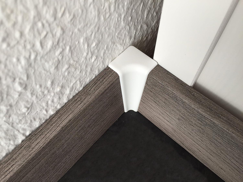 Au/ßenecken /& Endkappen von Joka f/ür Sockelleisten Fu/ßbodenleisten auf verschiedenen B/öden Befestigungsclip, Schwarz Innenecken Farben wei/ß oder Edelstahl-look