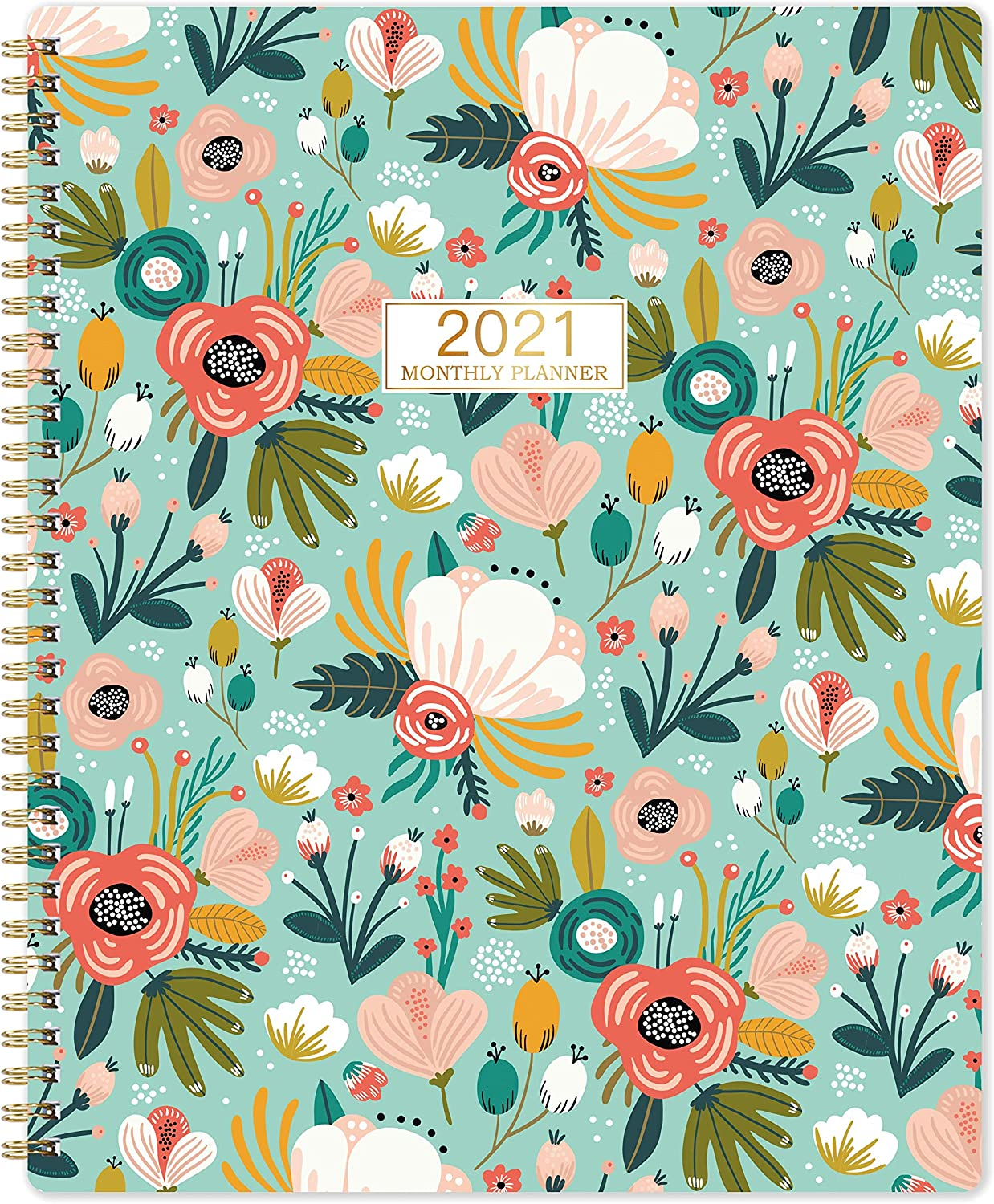 "2021 Monthly Planner/Calendar - 12-Month Planner with Tabs & Double Side Pocket & Label, Floral Calendar Planners, Contacts and Passwords, Jan 2021 - Dec 2021, 8.5""x 11"", Twin-Wire Binding"