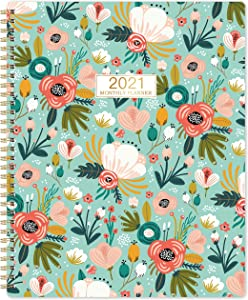 """2021 Monthly Planner/Calendar - 12-Month Planner with Tabs & Double Side Pocket & Label, Floral Calendar Planners, Contacts and Passwords, Jan 2021 - Dec 2021, 8.5""""x 11"""", Twin-Wire Binding"""