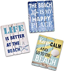 3 Beach Wall Decor Ocean Home Decorations Rustic Signs for Bathroom Coastal Theme House Sign Bedroom Nautical Themed Room Happy Starfish Sea Accessories Wooden Seashell Hanging Art Life Office Gifts