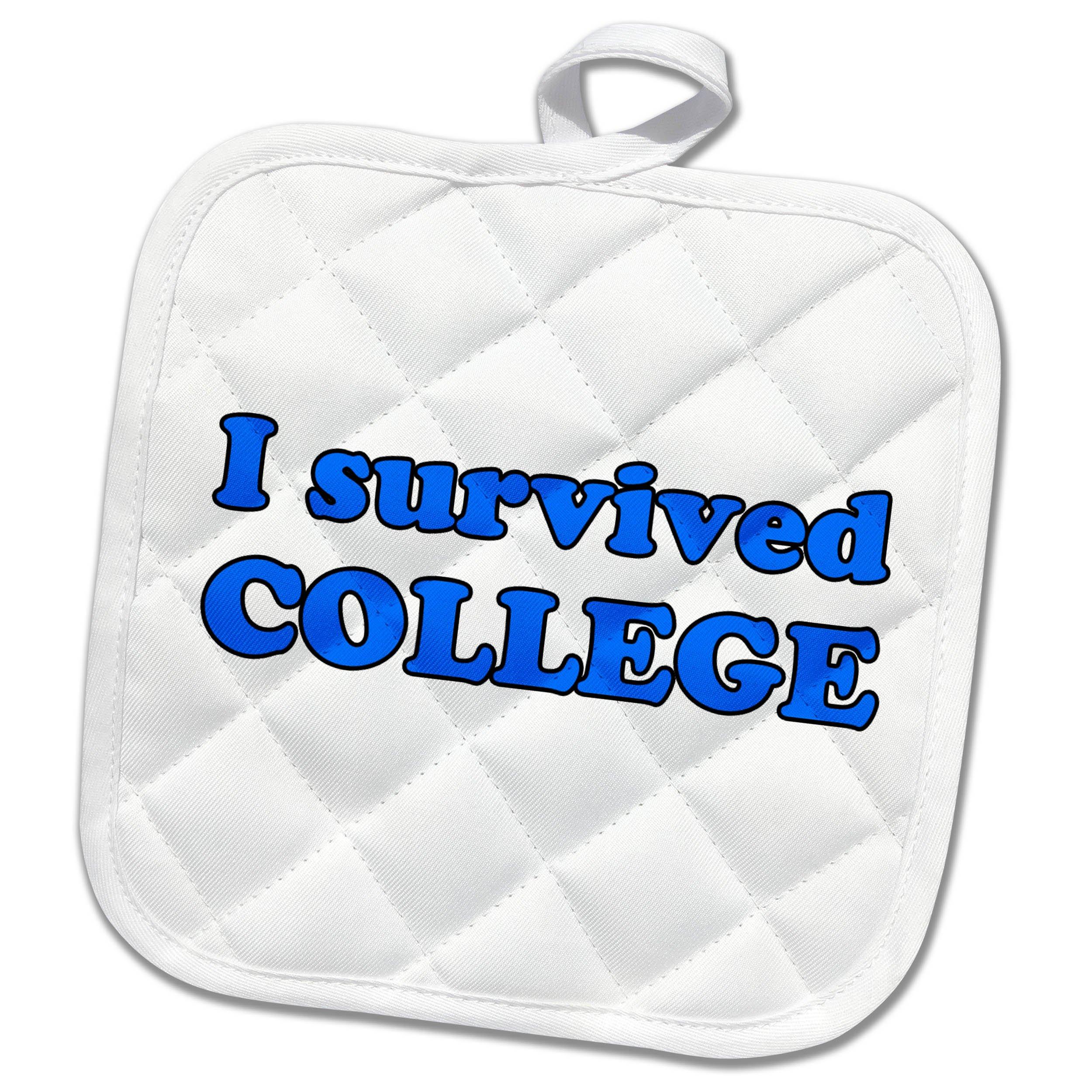 3dRose Student Humor - I Survived College Blue - 8x8 Potholder (phl_274507_1)