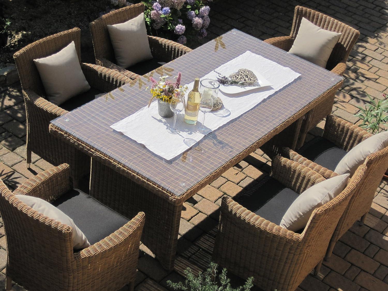 Amazon.de: Sitzgruppe Garten Garnitur Tisch und 6 Sessel / Stühle ...
