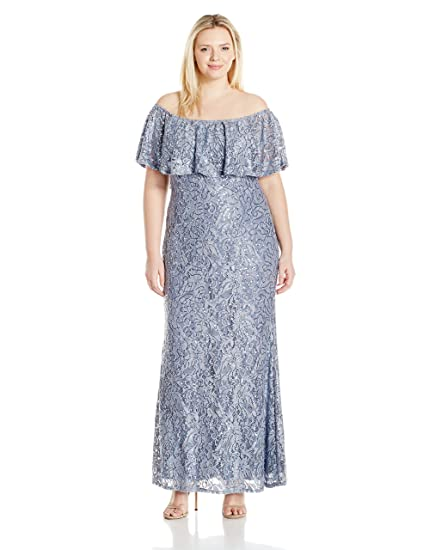 Marina Women\'s Plus Size Long Popover Lace Dress