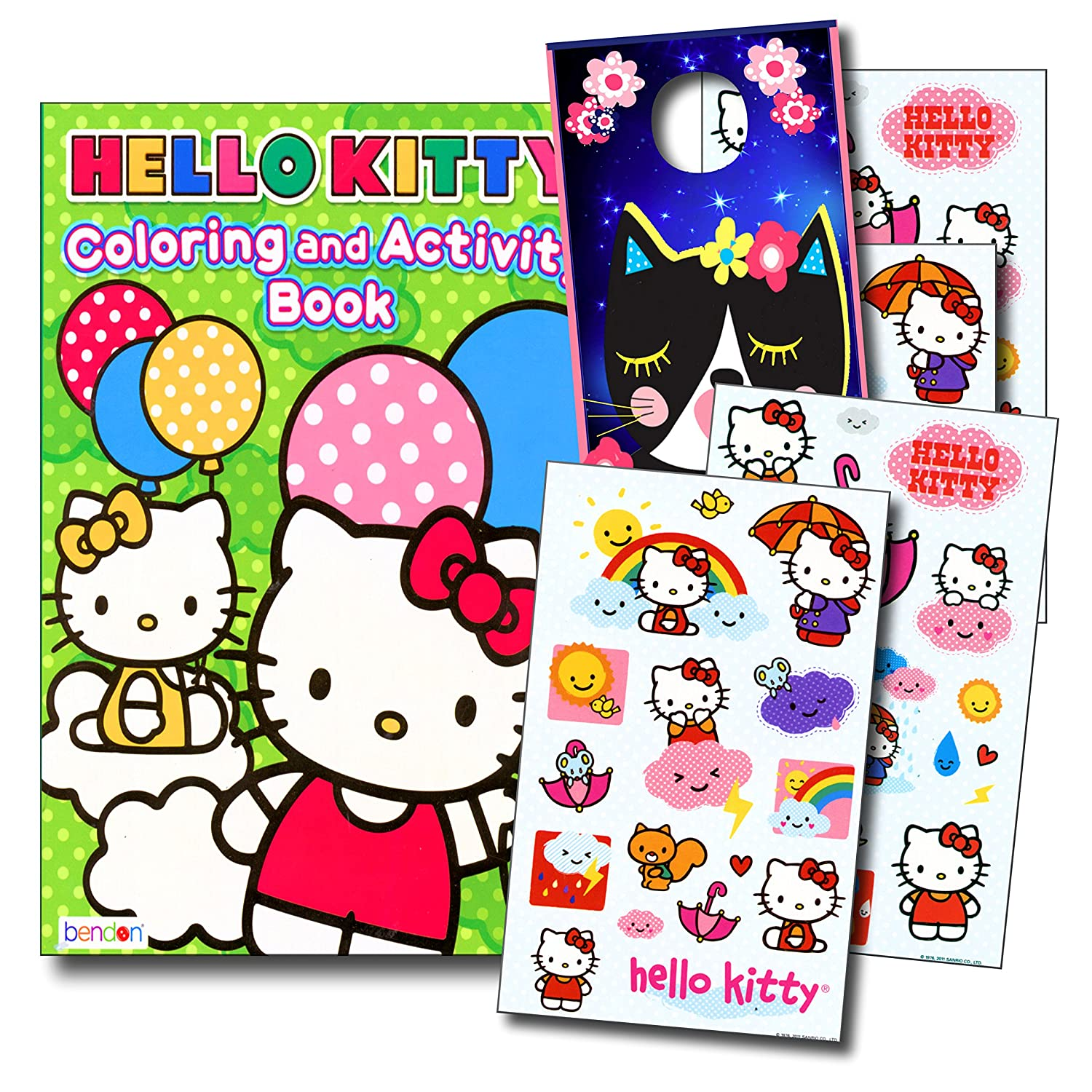 Hello Kitty Coloring Book and Stickers Super Set~ Hello Kitty Coloring Book with Hello Kitty Stickers & Specialty Door Hanger