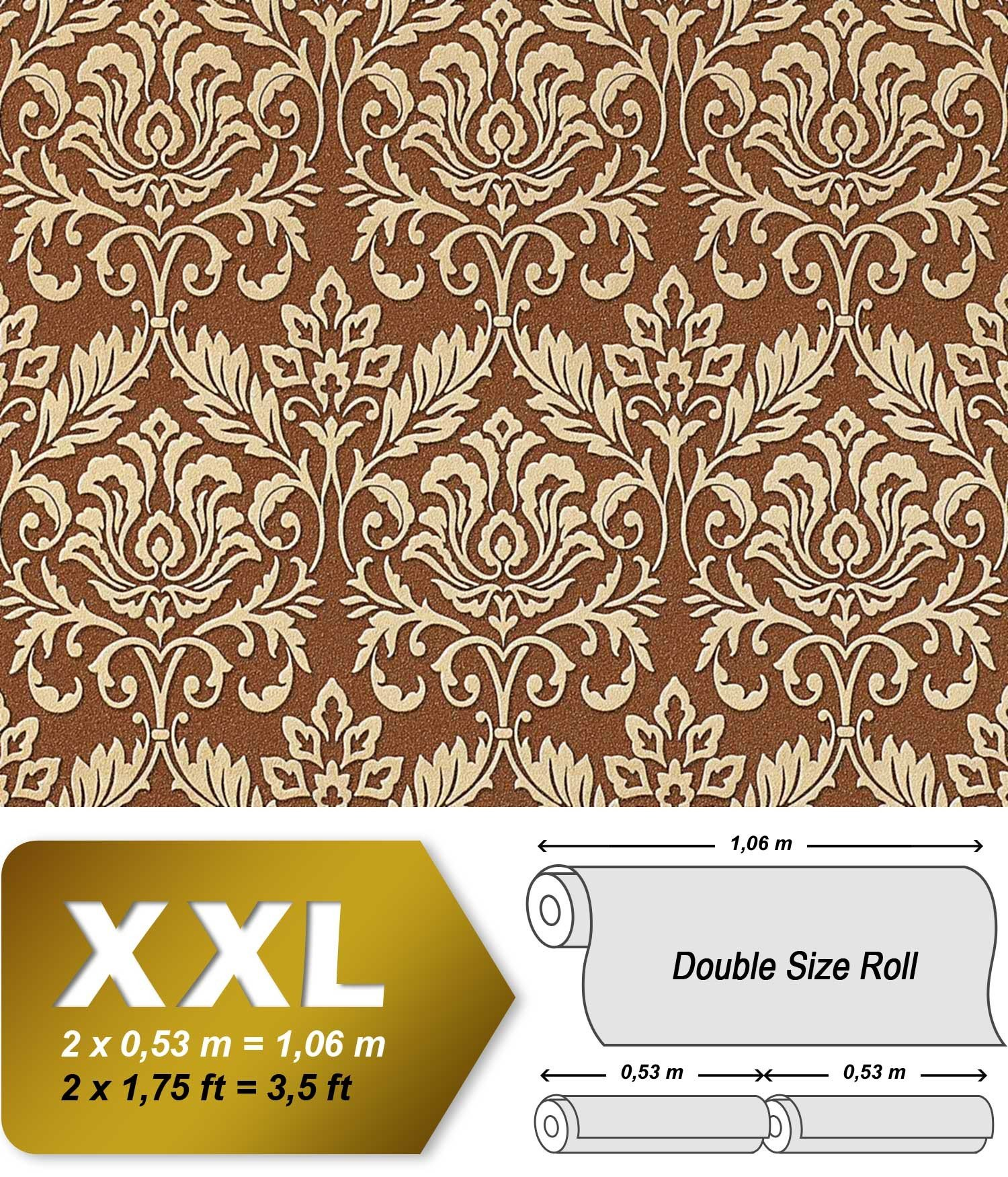 Baroque royal damask wallpaper wall EDEM 981-46 luxury heavyweight non-woven fawn brown cigar brown gold 26,5 sqm 114 sq ft
