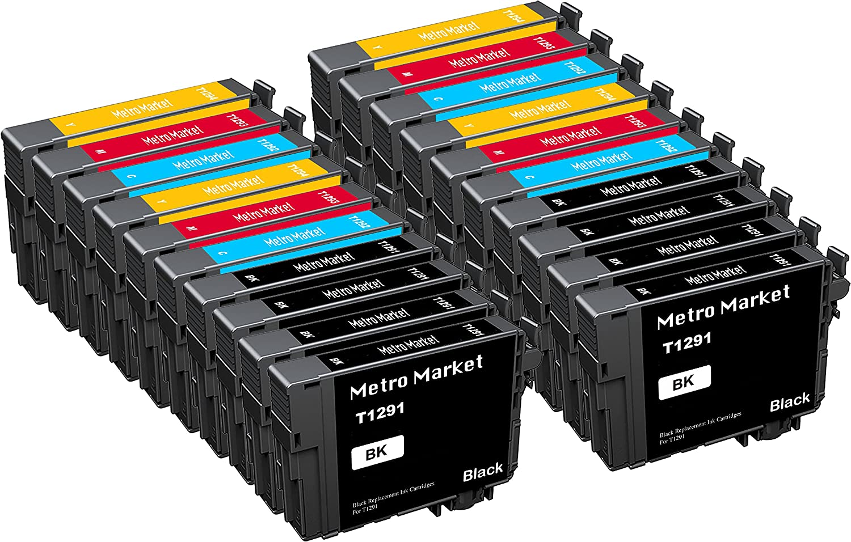 Metro Market 20 Piezas Reemplazo para Epson T1291-T1294 (T1295 ...