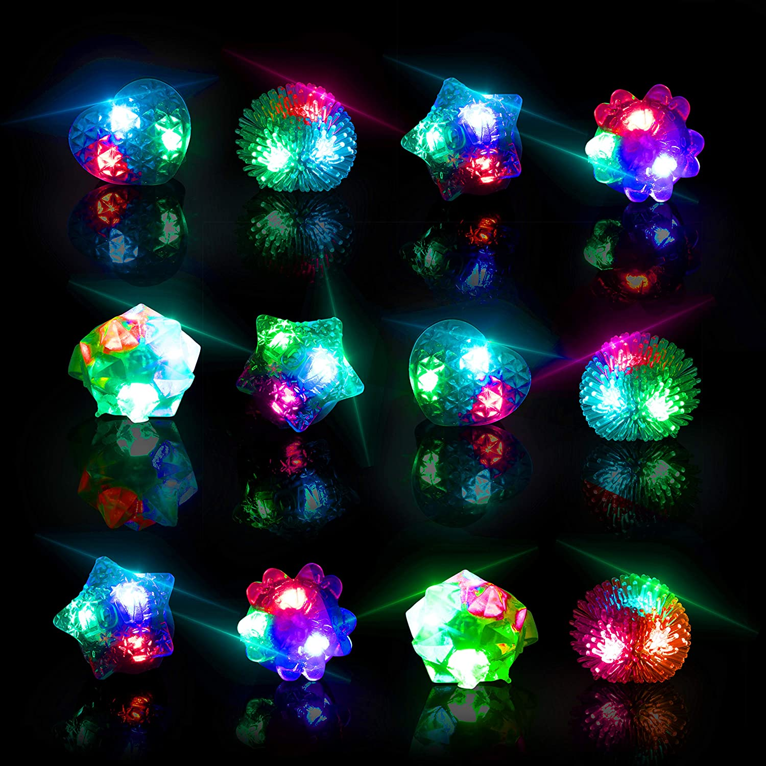 Glow Rings LED Party Favors for Kids – Light Up Rings Glow in The Dark Party Supplies LED Finger Lights Stocking Stuffers or Rave Accessories 36pk