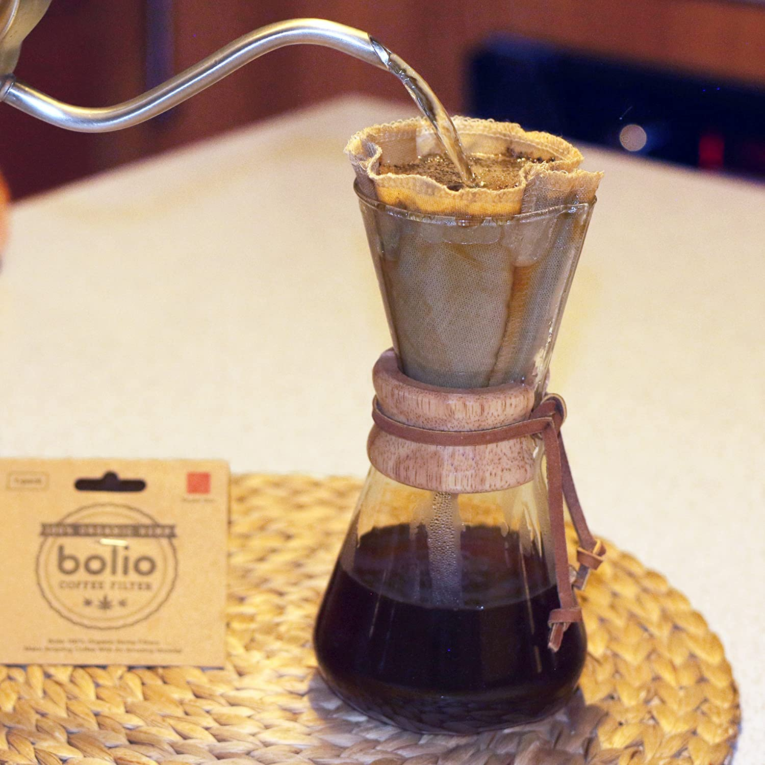 Bolio Designs 1, Chemex Organic Hemp Square Coffee Filter Reusable and Great for Making Smooth Natural Tasting Pour Over Coffee Eco-Friendly Bacteria Resistant Material Suit with Bolio Chemex Coffee Gator Carafe