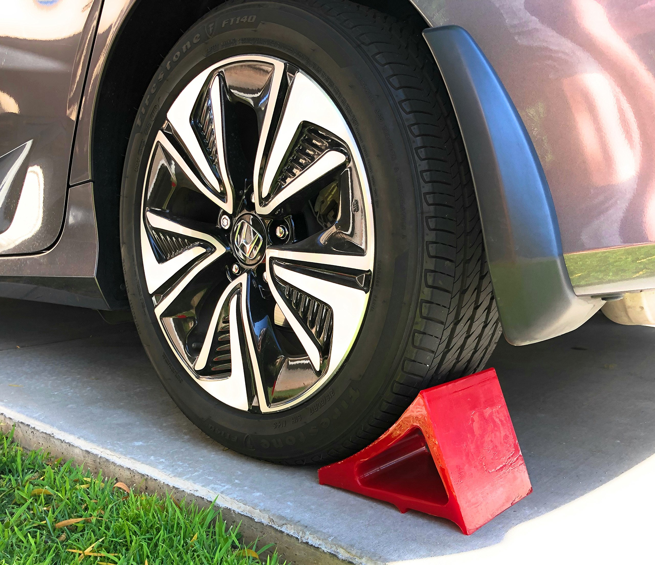 Tire & Wheel Chock - Ideal Camping Accessory for RV Motorhome, Trailer, Truck, Motorcycle & Car. Weatherproof, Outdoor Grade, Polyurethane Better Than Rubber or Plastic, 5 Year Warranty, 2 Pack Red by Elasco Products (Image #5)