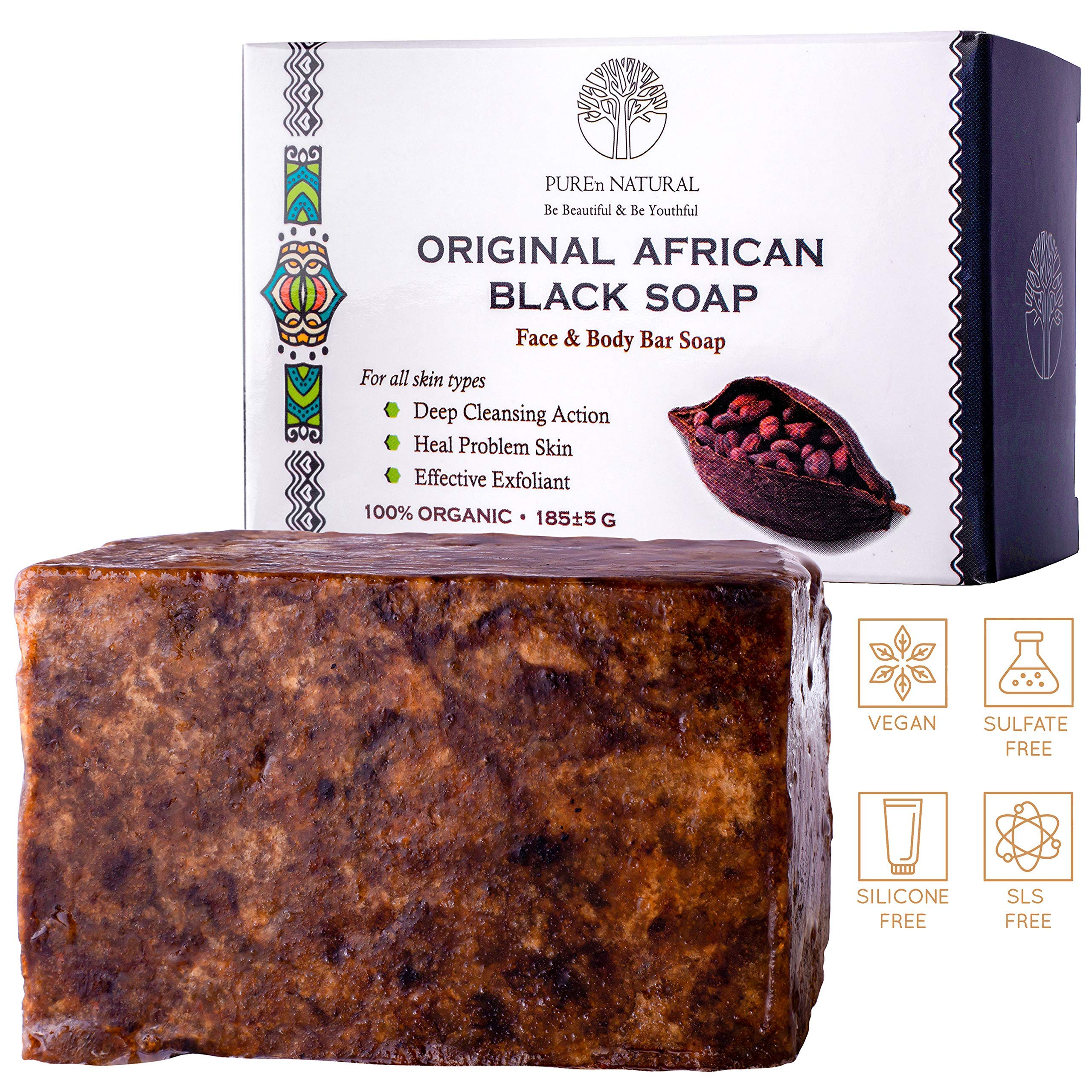 Original Detoxifying African Black Soap – For All Skin Types, Face & Body Wash – Nature's cure for problematic skin - Ideal for Dry Skin, Acne, Eczema, Psoriasis, Rashes, Rosacea
