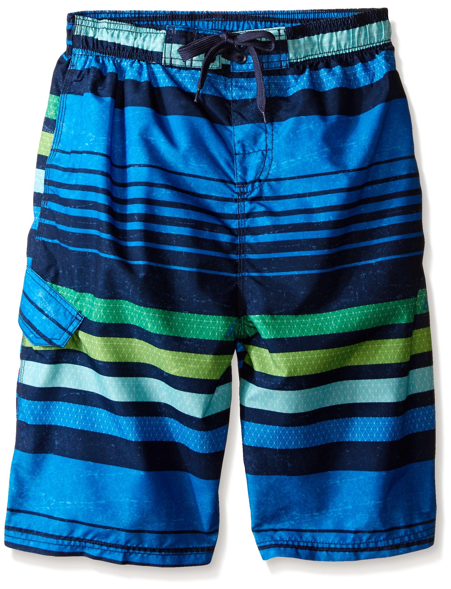 Kanu Surf Big Boys' Echo Stripe Swim Trunk, Blue, Medium (10/12)