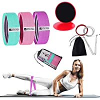 Resistance Exercise Booty Bands, Core Gliders & Jump Rope Set, Ab Floor Slider Discs Double Sided, Fitness Hip Circle…