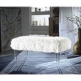 Iconic Home Trento Modern Contemporary Faux Fur Acrylic Leg Bench, White